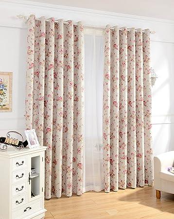 Nibesser Vorhänge Gardine Verdunklungsvorhänge Blickdicht mit Ösen für  Schlafzimmer Wohnzimmer Blumen 2er set (140Bx245H cm, Rosa)