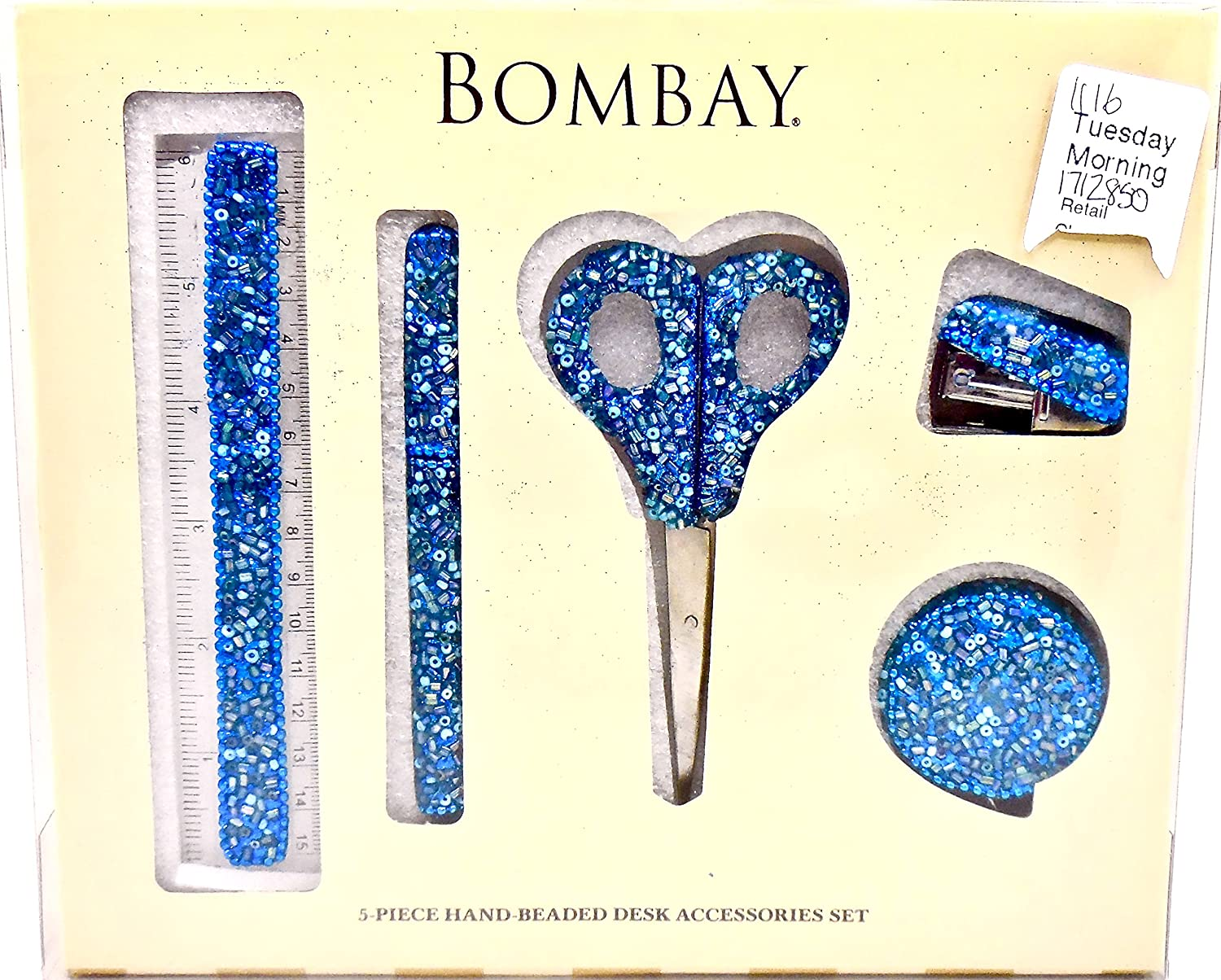 Amazon.com : Bombay Sequined Desk Accessories Set, Hand Beaded, 5 ...