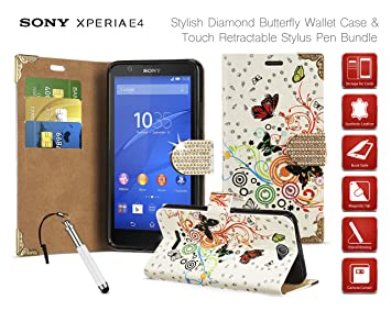 Sony Xperia E4 - Diamond Butterfly Folio Wallet Case: Amazon