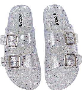 633e68e4d24a SODA Women s Open Toe Glitter Clear Double Buckle Jelly Sandal