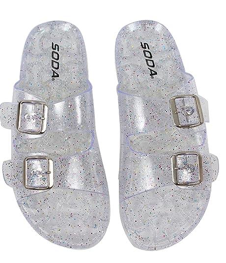 13c285e75d10 Amazon.com | SODA Women's Open Toe Glitter Clear Double Buckle Jelly ...