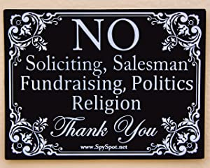 "2 Pack of No Soliciting Vinyl Decal Stickers 4"" x 3"" Indoor and Outdoor Use UV Stable Home and Business Sticker"
