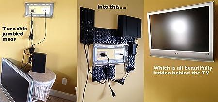 Universal, Ajustable Kit de soporte de montaje con organizador de cables para soporte de TV de Panel, debajo del escritorio Cable Management, ocultar cables y más |: Amazon.es: Hogar