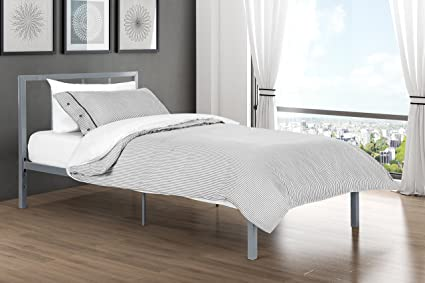 Finlay Twin Metal Bed Frame In Rich Silver, Modern Scandinavian Minimalist  Design, Solid Platform