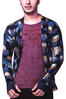 e948adb0 SDS Fashion Men's Full Sleeve Cotton Maroon red Printed T.Shirt with Navy  Blue Yellow