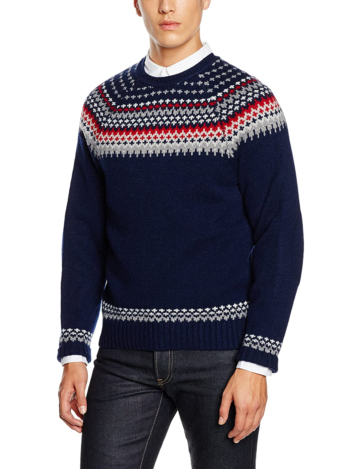 Brooks Brothers Herren Pullover Swt Wool Nordic Fair Isle Crew Pf Nvy Multi