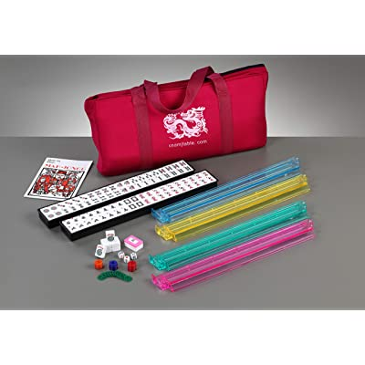 Brand New American Mahjong Set in Burgundy Bag, 4 Pushers Racks Western Mahjongg: Toys & Games
