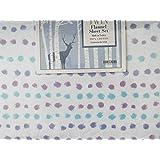 Homegrown Purple Blue Dots 100% Cotton Twin Flannel Sheet Set