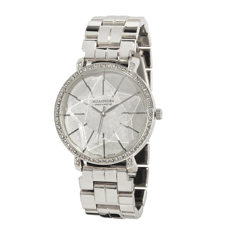 Damen-Armbanduhr Stern in der Zifferblatt und Swarovski-Kristall Silber