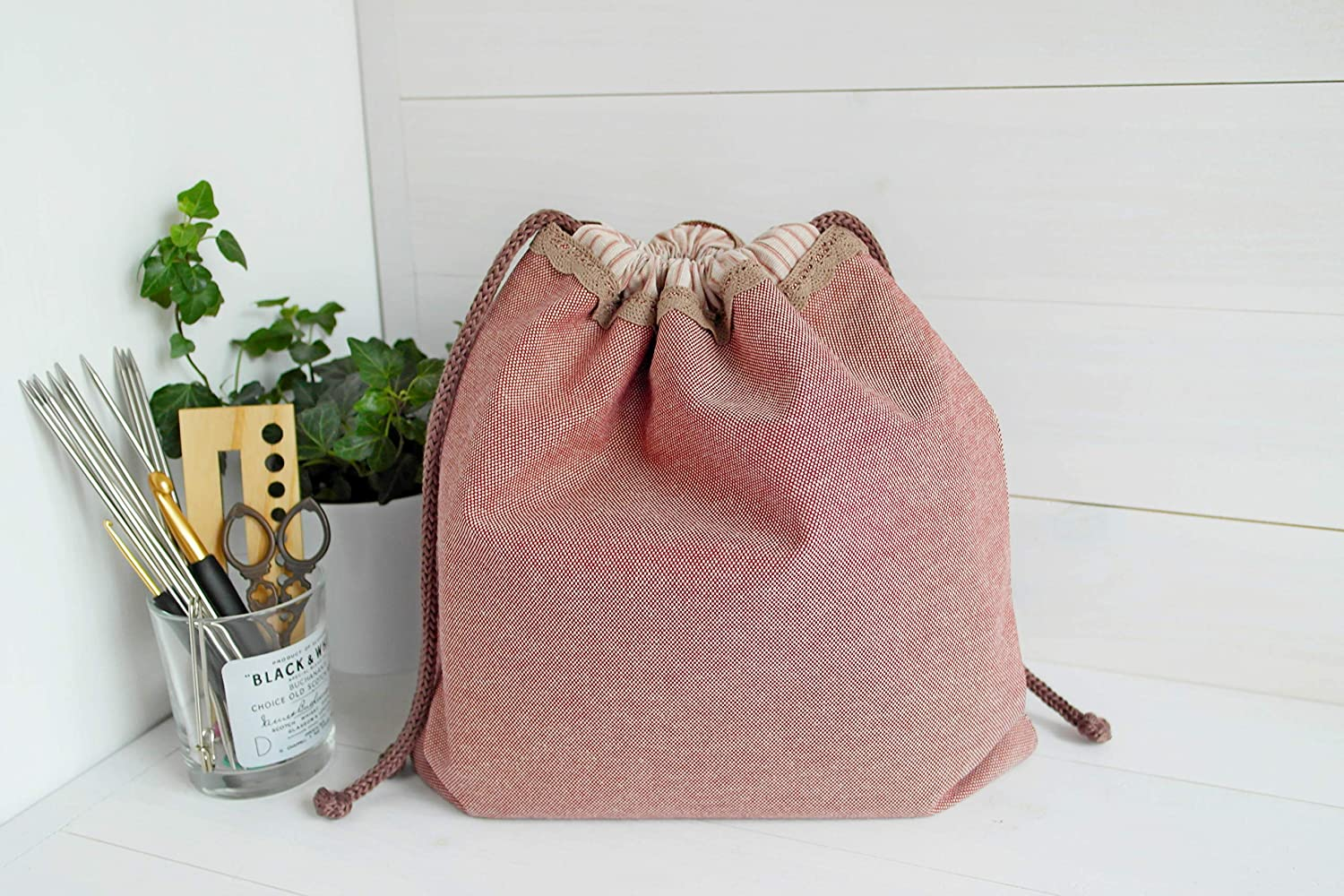 02a6bfb9d107a Amazon.com: Beige drawstring knitting project organizer, yarn bag ...