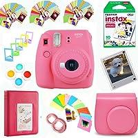 Fujifilm Instax Mini 9 Film Camera (Flamingo Pink) + Film Pack(10 Shots) + Photix Pleather Case + Filters + Selfie Lens + Album + Frames & Stick-on Frames Exclusive Instax Design Bundle