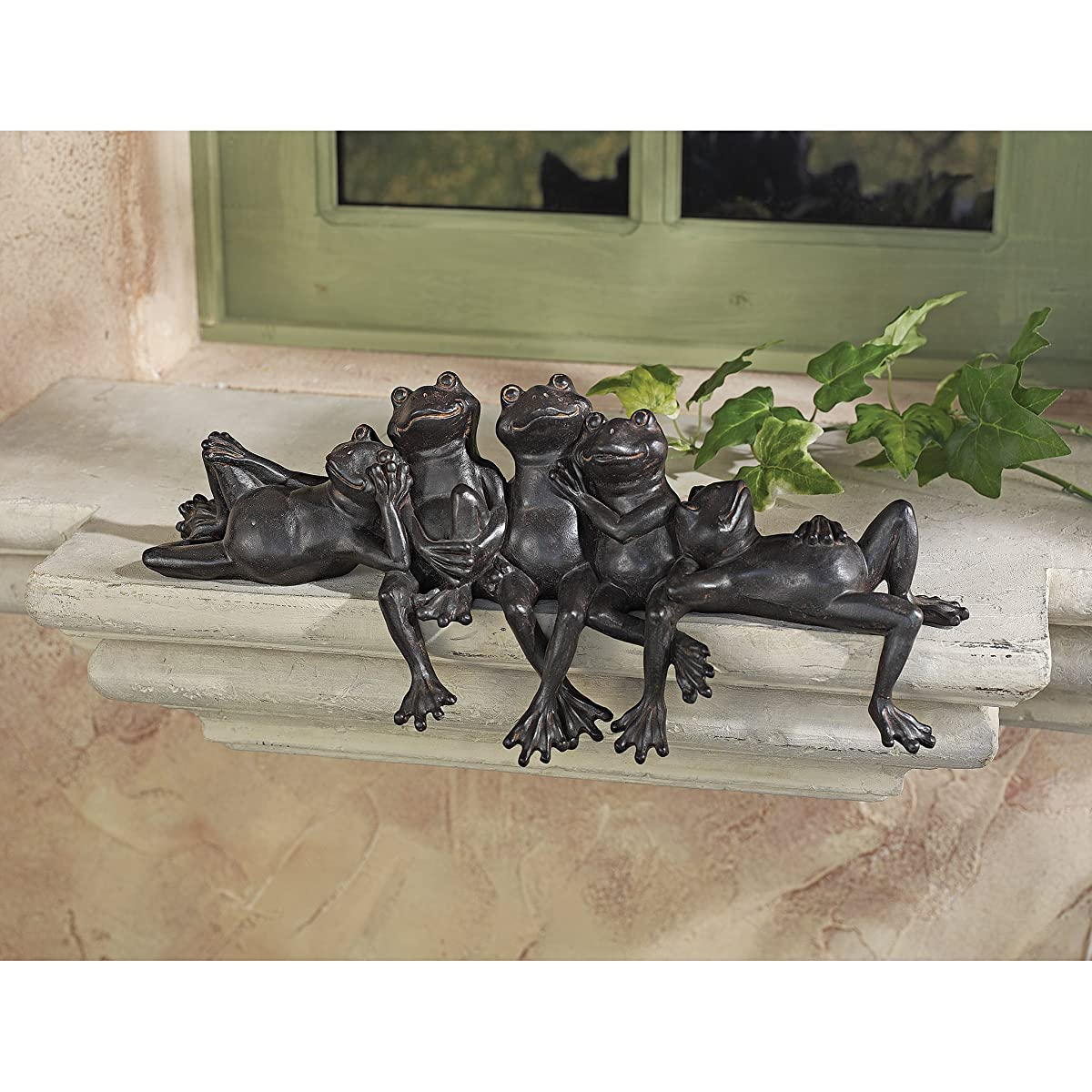 Design Toscano Lazy Daze Knot of Frogs Sill Sitters, Bronze
