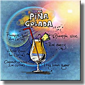Pina Colada Cocktail Recipe Drink Picture on Stretched Canvas, Wall Art Decor, Ready to Hang!