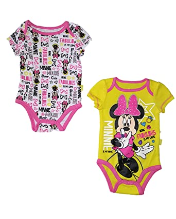 4d640ed1e Amazon.com  Disney Baby Minnie Mouse Infant 2 Pack Creeper Romper ...