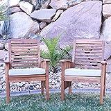 Walker Edison Wood Patio Chairs (Set of 2), Brown