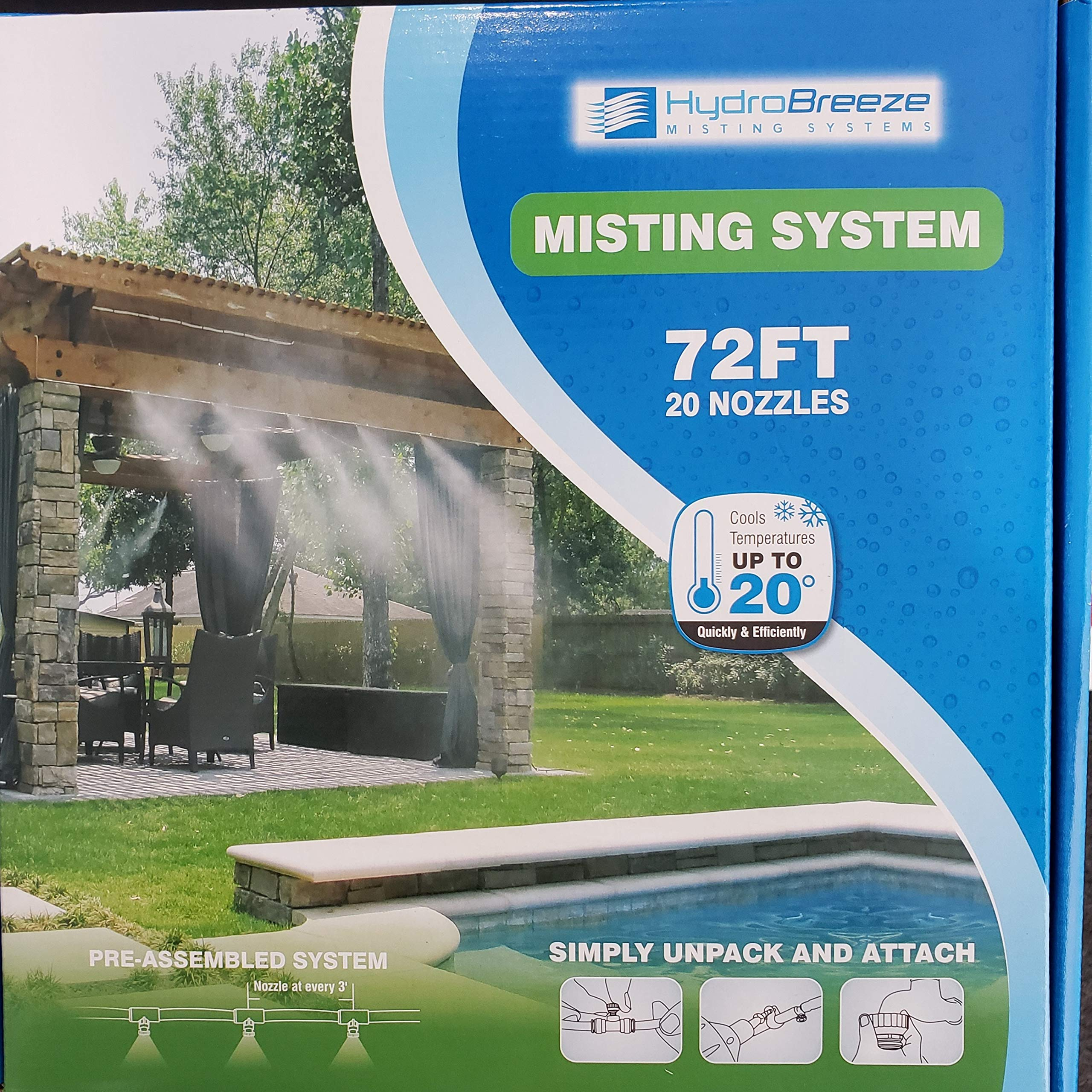 Hydrobreeze Pre-Assembled Misting System 72 Feet 1/4 in Beige Tubing - 20 Nozzles by Hydrobreeze