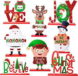 8PCS Christmas Table Decorations Signs - Xmas Centerpiece for Dinner Party Coffee Desk Holiday Decor Gifts Ornaments - Santa/Snowman/Reindeer/Joy/Christmas/Love/Elf/Believe (Assembly Needed)