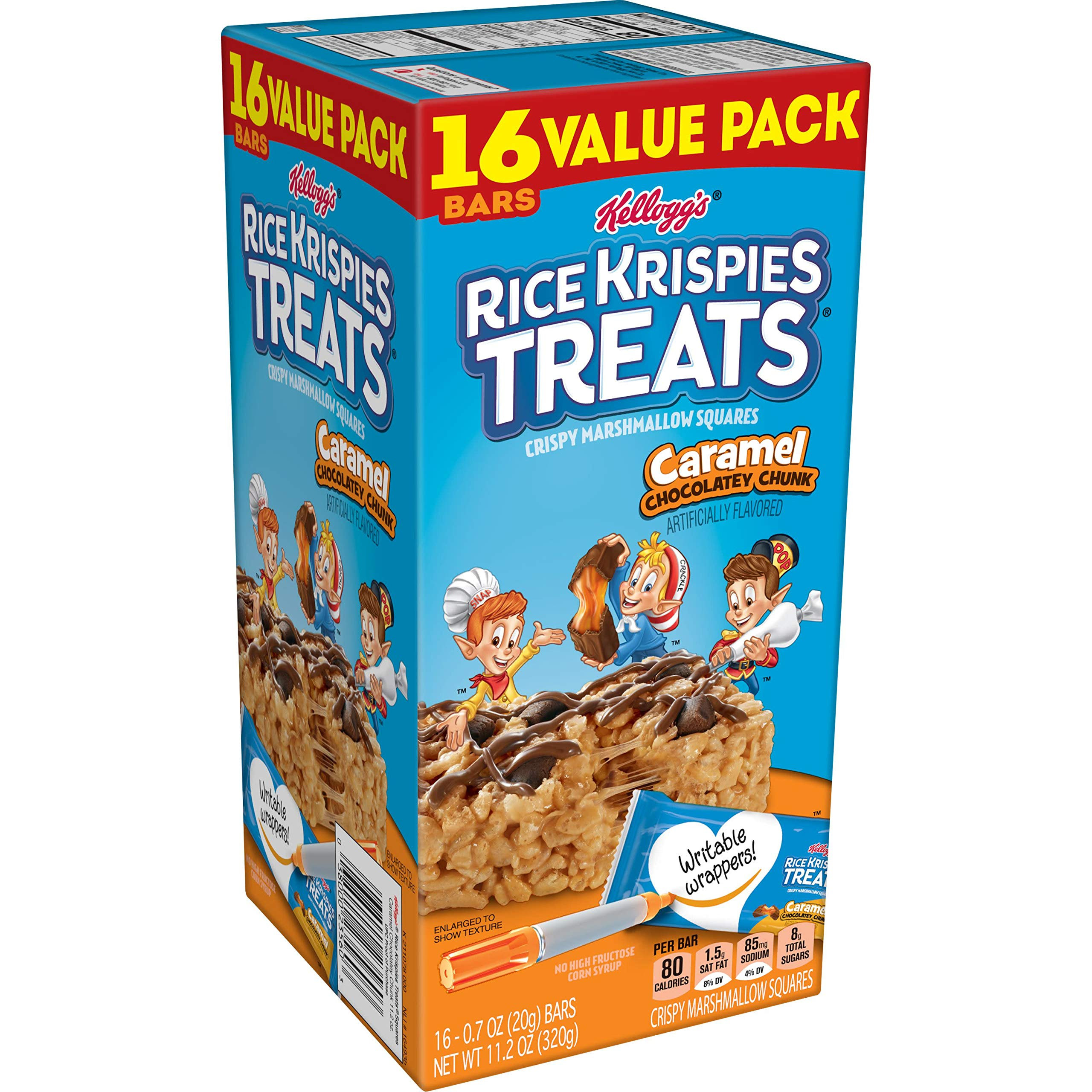 Kellogg's Rice Krispies Treats, Crispy Marshmallow Squares, Caramel Chocolatey Chunk, Classic Kid School Snack, Value Pack, 11.2oz Box (16 Count)