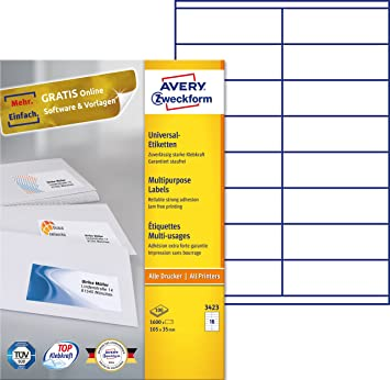 Avery 3423 - Pack de 100 hojas con etiquetas imprimibles polivalentes, 105 x 35 mm: Amazon.es: Oficina y papelería