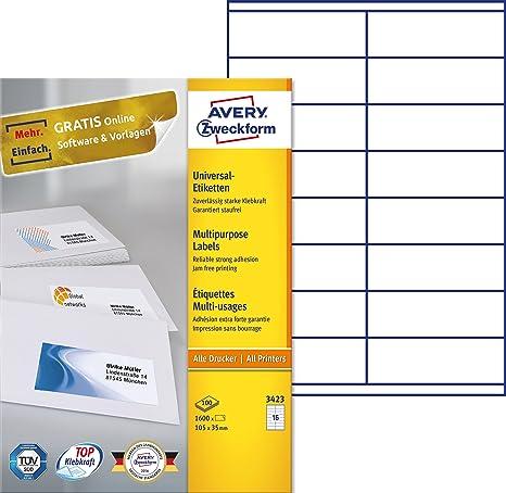 Avery 3423 - Pack de 100 hojas con etiquetas imprimibles polivalentes, 105 x 35 mm