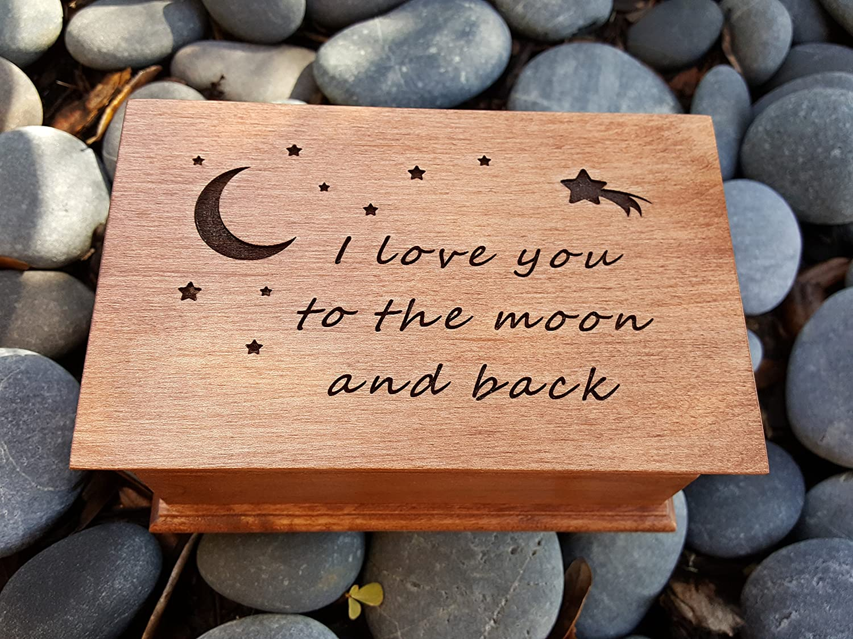 jewelry box, music box, I love you to the moon and back gift, custom made music box, handmade jewelry box, anniversary gift, simplycoolgifts