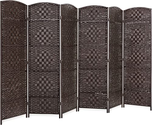Best Choice Products 6ft Tall 6-Panel Diamond Weave Folding Freestanding Room Divider Privacy Screen Accent – Dark Mocha