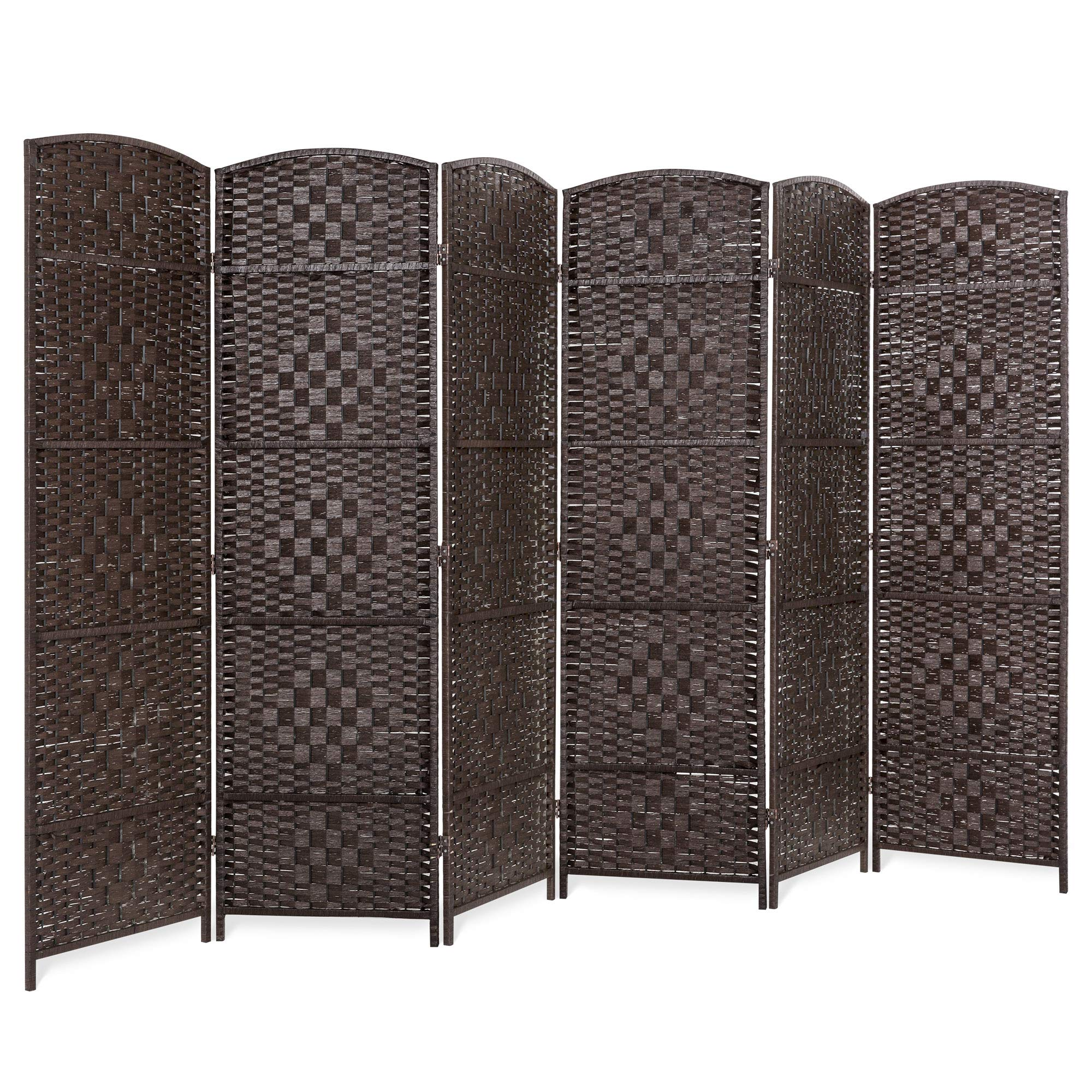 Best Choice Products 70x118in 6-Panel Diamond Weave Wooden Folding Freestanding Room Divider Privacy Screen for Living Room, Bedroom, Apartment w/Two-Way Hinges, Dark Mocha by Best Choice Products