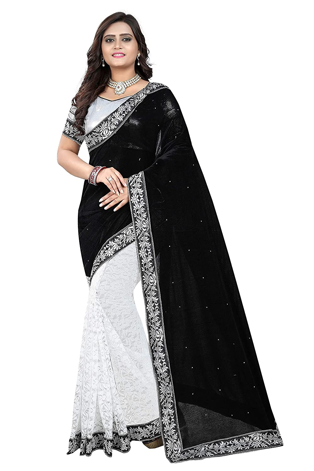 Market Magic World Women's Embroidered Saree with Blouse Piece(Free Size)