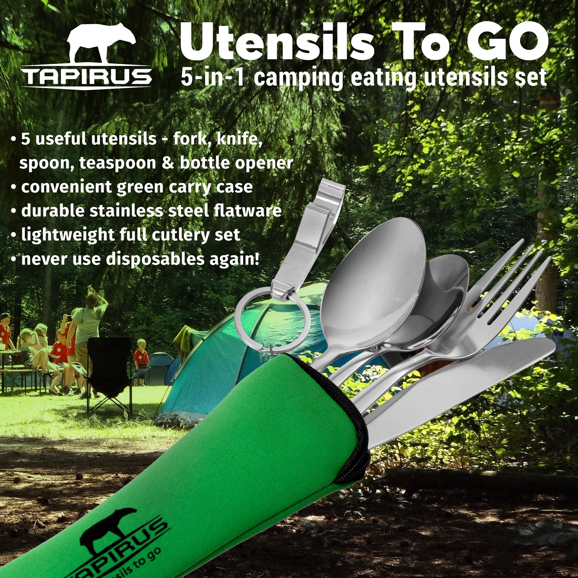Tapirus Camping Eating Utensils To Go   Durable Stainless Steel Lightweight Construction Flatware   Travel Mess Cutlery Kit With Spoon, Teaspoon, Knife, Fork & Bottle Opener   Comes In A Carrying Case by Tapirus (Image #2)