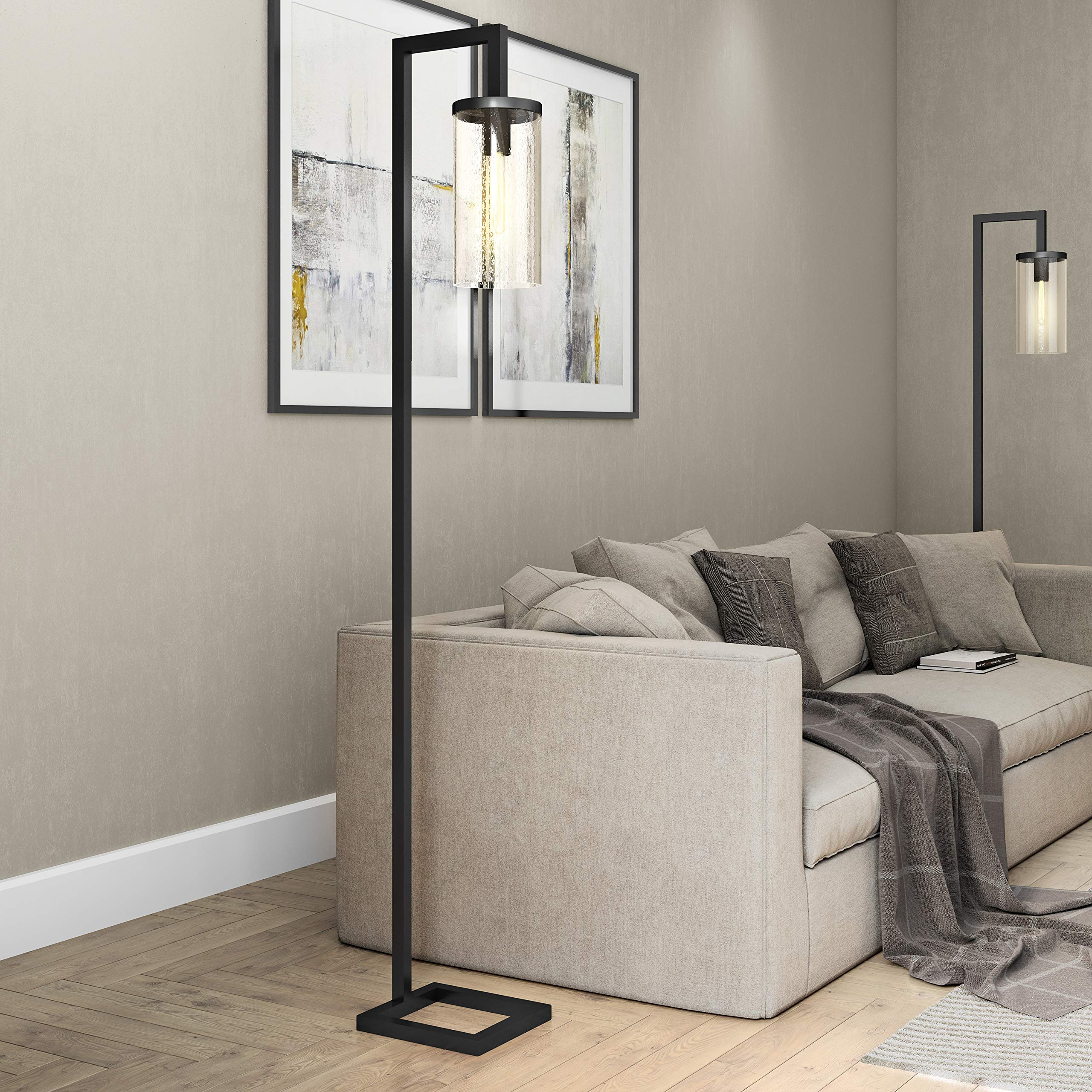 Henn&Hart FL0014 Modern Farmhouse seeded Task Lamp, One Size, Black by Henn&Hart
