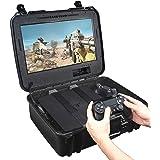 Case Club - Estación de juegos portátil impermeable para PlayStation 4 con monitor integrado y almacenamiento para mandos y j