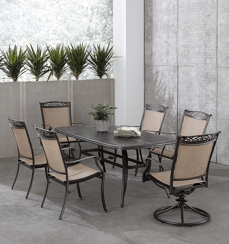 Hanover FNTDN7PCSW2C Fontana 7-Piece Dining Set Outdoor Furniture, Tan