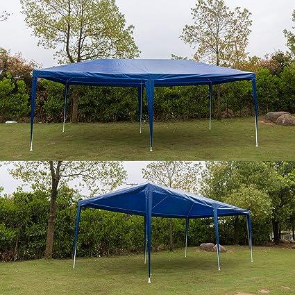 Huini - Carpa de 3 x 6 m (con 6 Paredes Laterales) para Fiestas en el jardín, Bodas, BBQ, Event, Resistente al Agua, protección UV, Carpa para Fiestas, toldo, fácil instalación, Azul: Amazon.es: Jardín