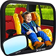 COZY GREENS Baby Car Mirror | Crash Tested, Stable, Shatterproof | 100% Lifetime Satisfaction Guarantee | Matte Finish | Wide Clear View Baby Mirror for Back Seat | Carseat Mirrors Rear Facing Infant