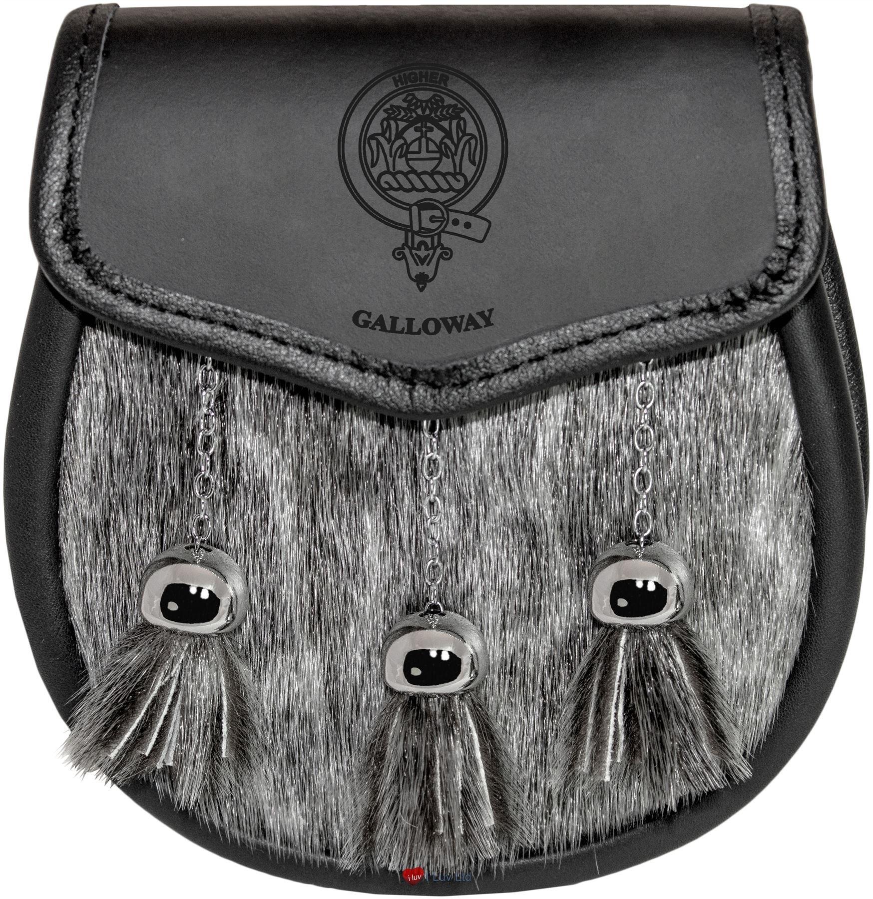 Galloway Semi Dress Sporran Fur Plain Leather Flap Scottish Clan Crest
