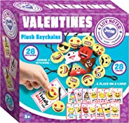 JOYIN 28 Pack Valentines Day Gifts Cards for kids, Valentine's Greeting Cards with Emoji Plush Key-chain Valentine Classroom