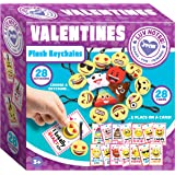 JOYIN 28 Pack Valentines Day Gifts Cards for kids, Valentine's Greeting Cards with Emoji Plush Key-chain Valentine…