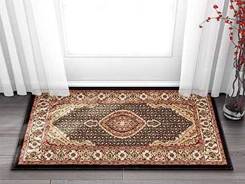 Well Woven Timeless Saffron Traditional Persian Medallion Black Area Rug 2 3 x 3 11 Doormat
