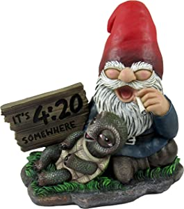 World of Wonders - Gnaughty Gnomes Series - Four-Twenty Friends - Collectible Stoner Gnome Smoking a Joint with Turtle Pal Figurine 420 Cannabis Marijuana Home Decor Accent Garden Accessory, 6-inch