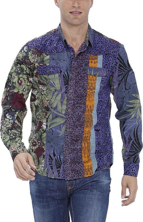 Desigual Infum Camisa, Verde (Verde Aventura 4034), S para Hombre: Amazon.es: Ropa y accesorios