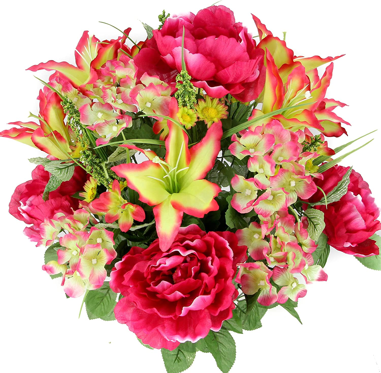 Admired By Nature 24 Stems Artificial Full Blooming Tiger Lily, Peony & Hydrangea with Green Foliage Mixed Flowers Bush for Mother's Day or Decoration for Home, Restaurant, Office & Wedding, Velvet