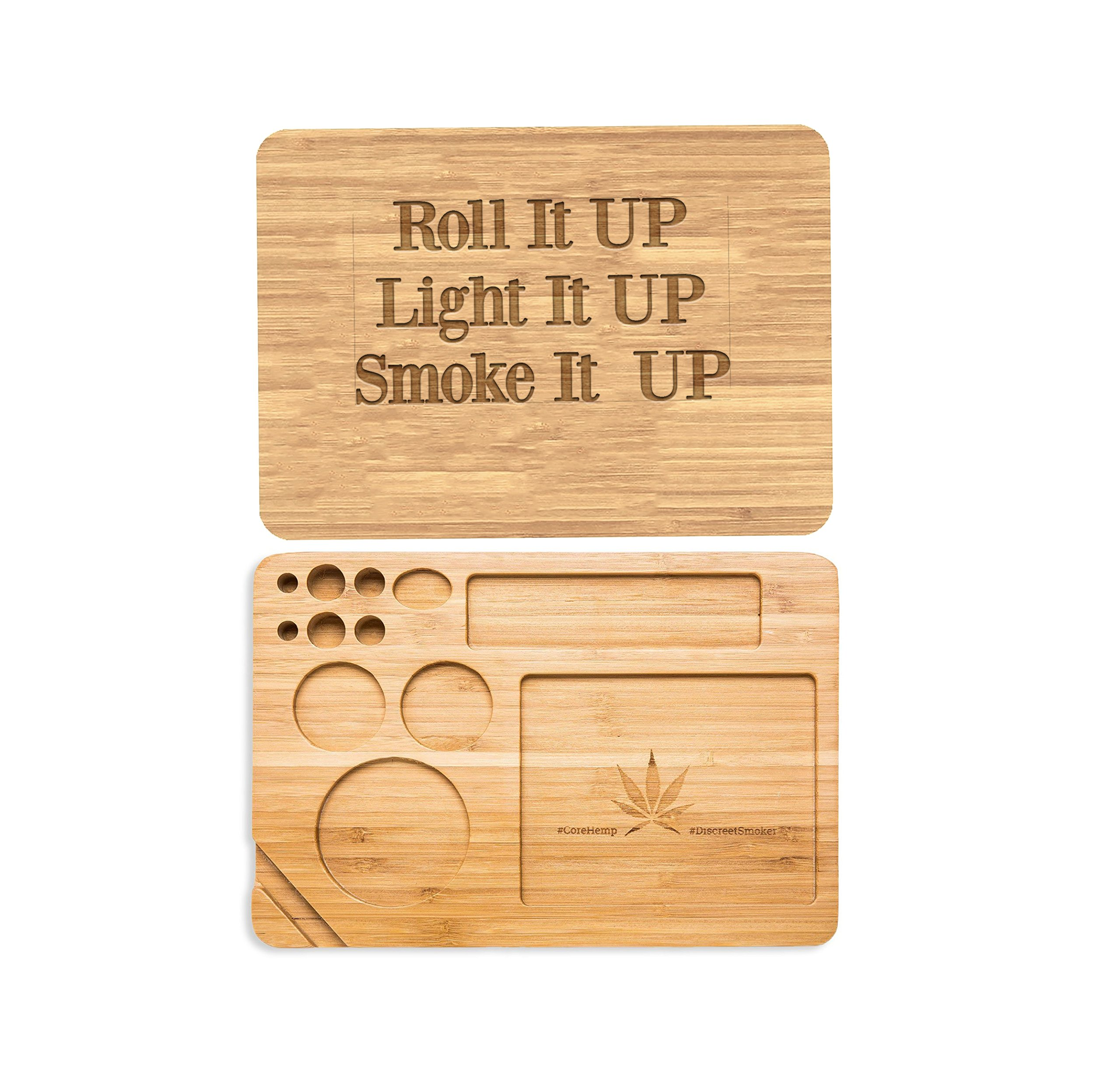 Laser Engraved Customized Personalized Bamboo Rolling Tray. Cut Out,for Rolling Tobacco Cigar Paper,Leaf,Medicinal Herb,Personalize The Back for Free- Roll it Up