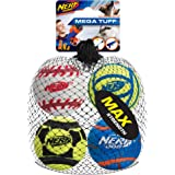 Nerf Dog Sports Ball Dog Toys, Lightweight, Durable and Water Resistant, 2.5 Inches, for Small/Medium/Large Breeds, Four Pack, Mixed Colors, Model:3372