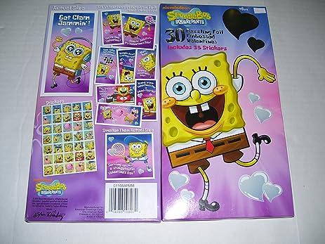 30 spongebob embossed foil valentines day cards with stickers - Spongebob Valentines Day Cards