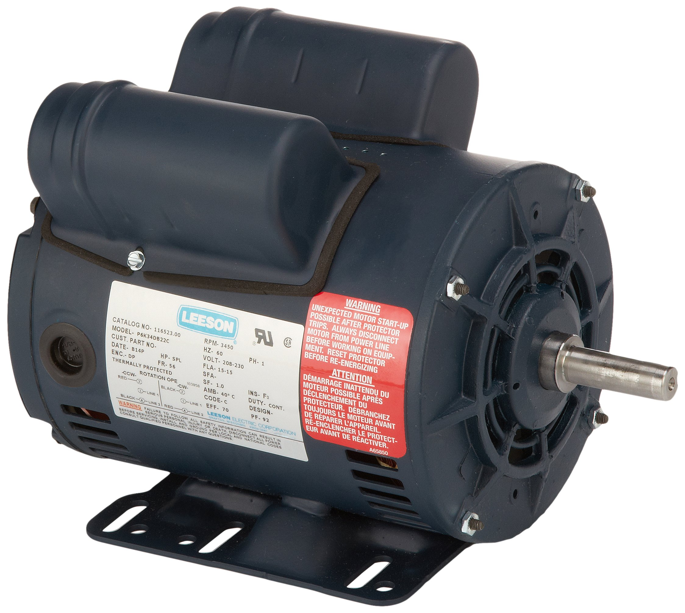 Leeson 116523.00 Compressor Duty ODP Motor, 1 Phase, 56 Frame, Rigid Mounting, 5SPLHP, 3600 RPM, 208-230V Voltage, 60Hz Fequency by Leeson