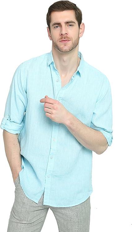 Najia Symbol Ropa Camisa de 100% Lino Blanca Hombre (Azul ...