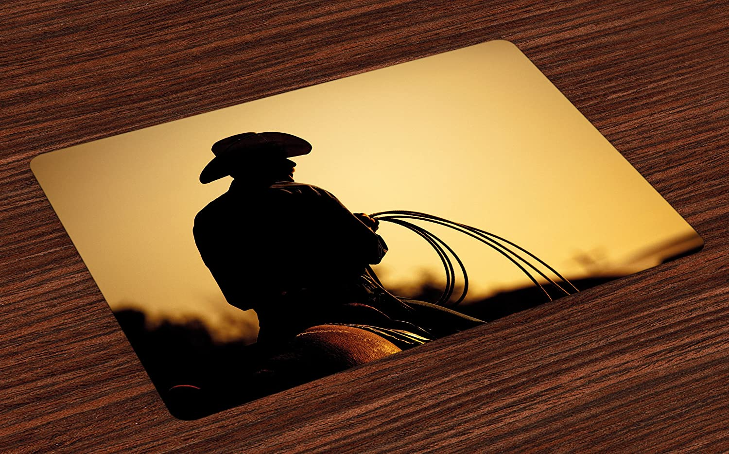 Lunarable Western Place Mats Set of 4, Cowboy with Lasso Silhouette at Small Town Rodeo Theme American USA Culture, Washable Fabric Placemats for Dining Room Kitchen Table Decoration, Brown Pale Brown