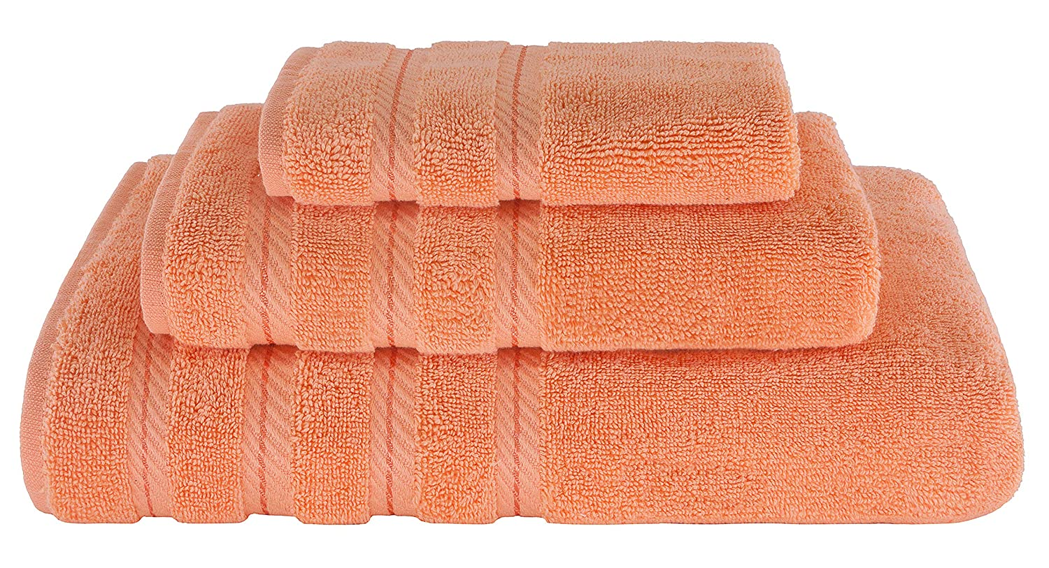American Soft Linen Premium, Luxurious & Complete Set of 3 Piece Towel Set for Kitchen and Bathroom, Cotton for Maximum Softness and Absorbency, Malibu Peach