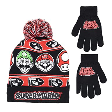 00a9121029f53 Image Unavailable. Image not available for. Colour  Nintendo Super Mario  Boys Beanie Winter Hat and Glove Set ...