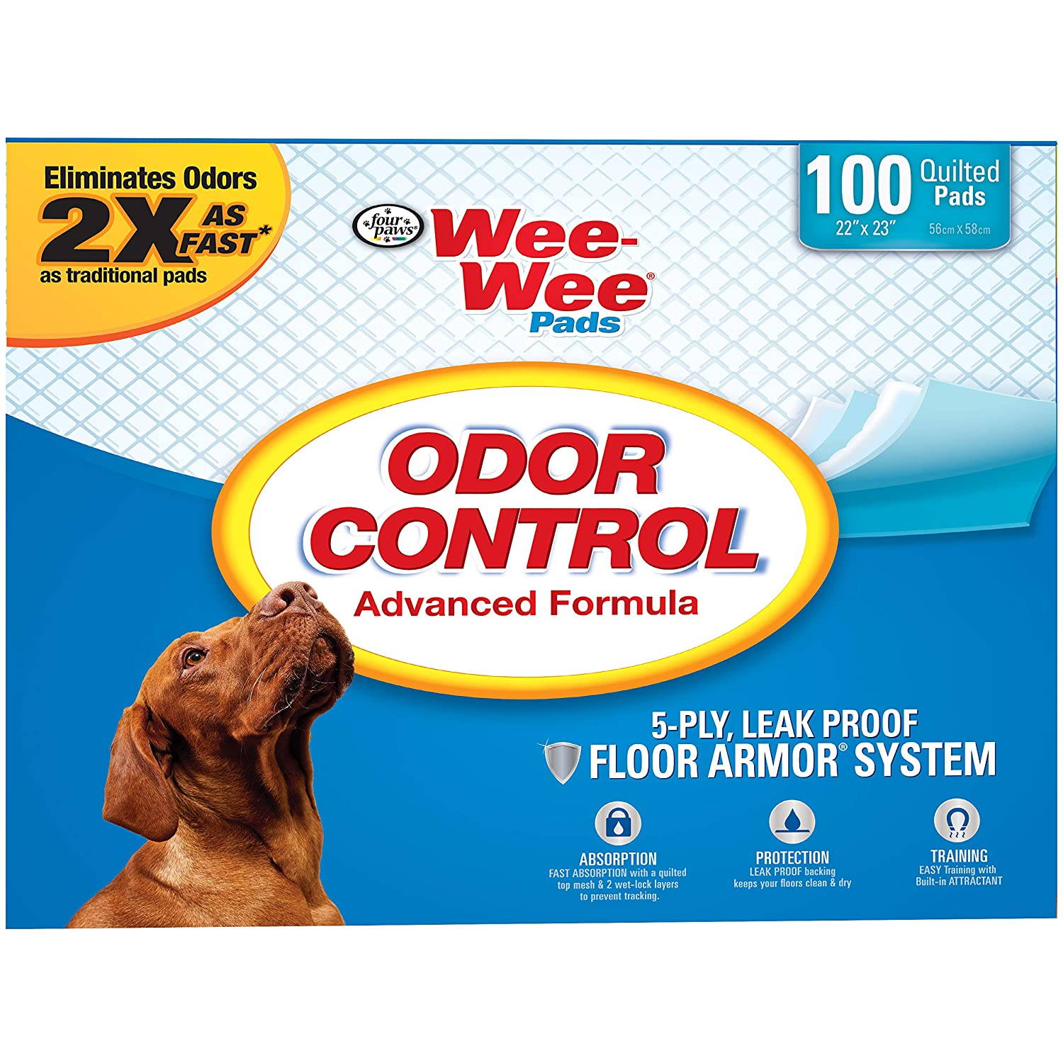 Four Paws Wee-Wee Odor Control Absorbent Pads for Dogs, 100 Count
